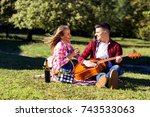 young couple having fun with... | Shutterstock . vector #743533063