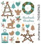 handmade christmas set. vector...   Shutterstock .eps vector #743560963