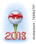 golf ball tied with a red bow... | Shutterstock .eps vector #743561797