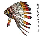 native american feather chief... | Shutterstock .eps vector #743592607