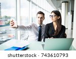 two colleagues friends taking... | Shutterstock . vector #743610793