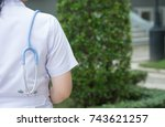 doctor with stethoscope used to ... | Shutterstock . vector #743621257