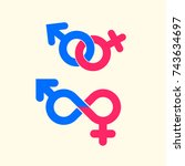 gender symbol vector icons.... | Shutterstock .eps vector #743634697