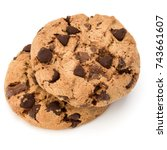 two chocolate chip cookies... | Shutterstock . vector #743661607
