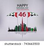 united arab emirates national... | Shutterstock .eps vector #743663503