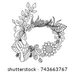 beautiful wreath on white... | Shutterstock .eps vector #743663767