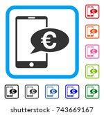 euro mobile message icon. flat...