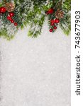 christmas greeting card.... | Shutterstock . vector #743677903