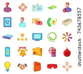 approximate income icons set.... | Shutterstock .eps vector #743678557