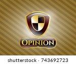 golden emblem or badge with... | Shutterstock .eps vector #743692723