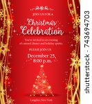 christmas party invitation with ...   Shutterstock .eps vector #743694703