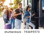 a group of tourists enters the... | Shutterstock . vector #743695573