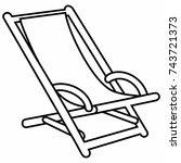 deck chair folding lounge chair ... | Shutterstock .eps vector #743721373