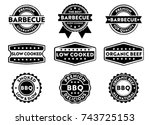 barbecue product sticker and... | Shutterstock .eps vector #743725153