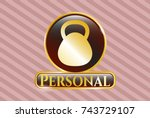 golden badge with kettlebell... | Shutterstock .eps vector #743729107