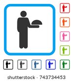 standing waiter icon. flat grey ...