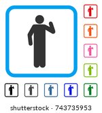 opinion pose icon. flat grey... | Shutterstock .eps vector #743735953