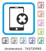 phone cancel icon. flat gray... | Shutterstock .eps vector #743735983