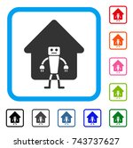 home robot icon. flat grey...