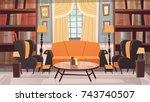 cozy living room interior... | Shutterstock .eps vector #743740507