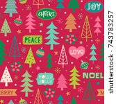 hand drawn christmas elements... | Shutterstock .eps vector #743783257