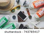 travel accessories costumes.... | Shutterstock . vector #743785417