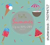 hello summer holiday card. up... | Shutterstock .eps vector #743794717