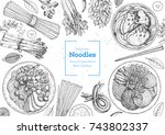 asian food engraved sketch.... | Shutterstock .eps vector #743802337