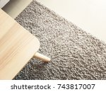 round wooden coffee table onrug ... | Shutterstock . vector #743817007