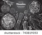 asian food engraved sketch.... | Shutterstock .eps vector #743819353