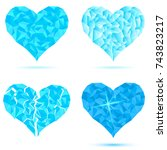 set heart icon of snow ice... | Shutterstock .eps vector #743823217