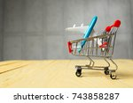 shopping trolley  aircraft | Shutterstock . vector #743858287