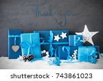 christmas gifts  snow ... | Shutterstock . vector #743861023