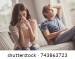 couple of adults are quarreling ... | Shutterstock . vector #743863723