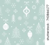 seamless xmas pattern one color | Shutterstock .eps vector #743866177