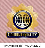 gold shiny emblem with globe ... | Shutterstock .eps vector #743892283