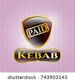 gold badge with paid icon and... | Shutterstock .eps vector #743903143
