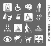 set of disability icons   | Shutterstock .eps vector #743907487