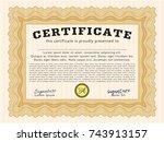 orange sample certificate. with ... | Shutterstock .eps vector #743913157
