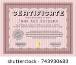 red certificate or diploma... | Shutterstock .eps vector #743930683