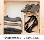 order in the closet. capsule... | Shutterstock . vector #743936533