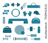 accessories for fitness. two... | Shutterstock .eps vector #743941513