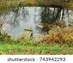 an autumn pond | Shutterstock . vector #743942293