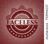 faceless red emblem. retro | Shutterstock .eps vector #743944237