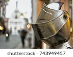 a knight's helmet in front of a ... | Shutterstock . vector #743949457