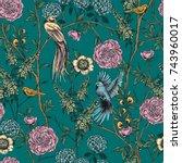 victorian garden. floral... | Shutterstock .eps vector #743960017
