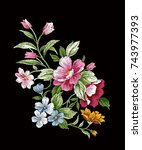 vintage floral embroidery... | Shutterstock .eps vector #743977393