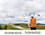 male engineer in wind mill...   Shutterstock . vector #743996503
