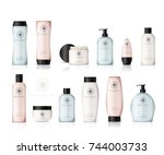 realistic cosmetic bottles with ... | Shutterstock .eps vector #744003733
