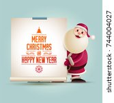 santa claus is showing banner.... | Shutterstock .eps vector #744004027